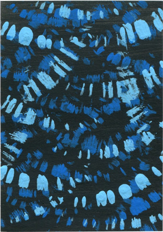 blue abstract painting original aceo art black miniature paint daubs spatter splatter artwork