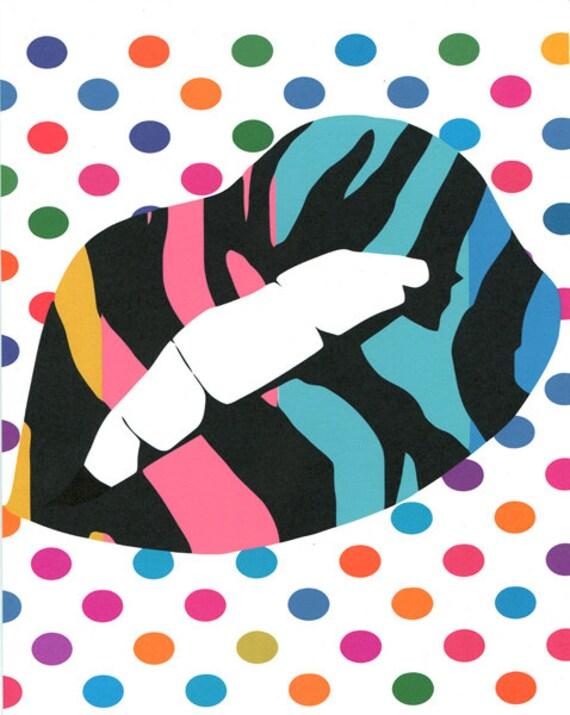 womans lip original art print, modern urban beauty  contemporary  zebra stripes polka dots  pop fashion original artwork wall art home decor