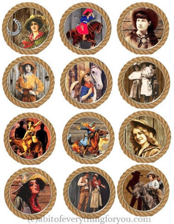 vintage cowgirls rope lasso frames art collage sheet 2.5 inch circle clipart digital download printable images ranch rodeo country western