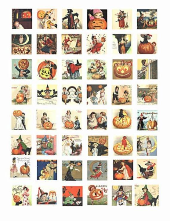 """printable collage sheet Vintage Halloween children pumpkins art  1"""" inch squares graphics vintage images digital download for pendants pins"""