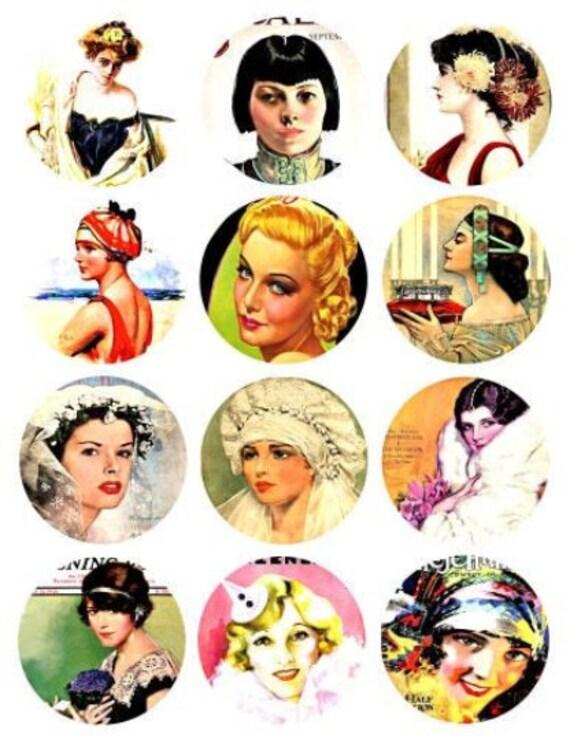 vintage pinup girls animal patterns sexy women collage sheet faces 1.5 inch circle clip art digital downloadable printable images DIY Crafts