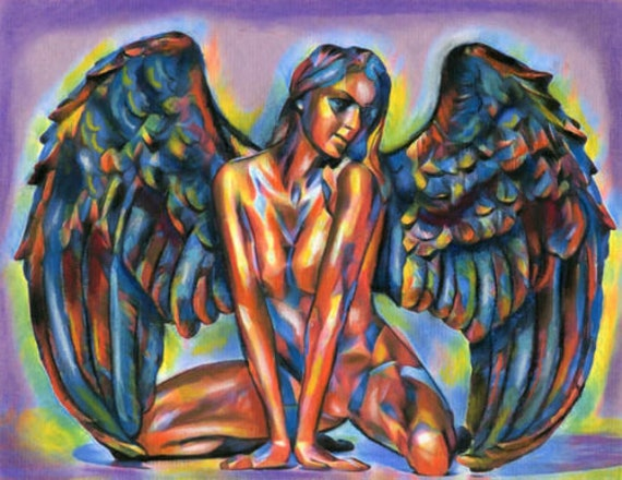 Nude chakra Angel abstract woman original art fantasy pinup girl pastel drawing