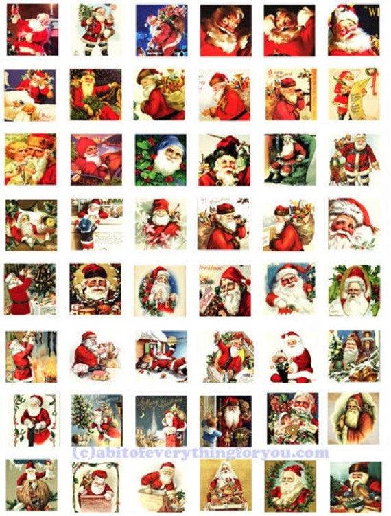 vintage santa claus christmas collage sheet clipart digital download 1 inch squares graphics images printables diy jewelry making