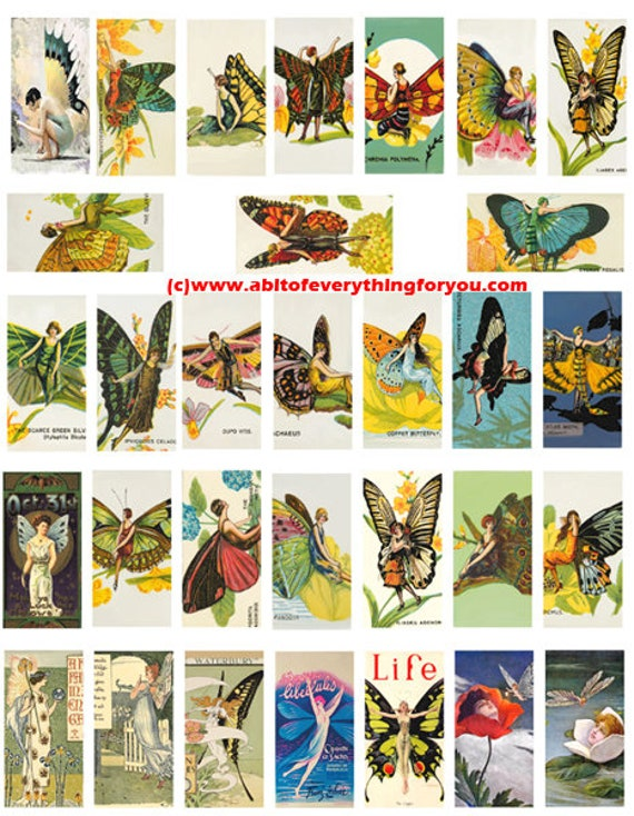 deco flapper girl fairytale fairies art domino collage sheet 1 x 2 inch images clip art digital download domino graphics images printables