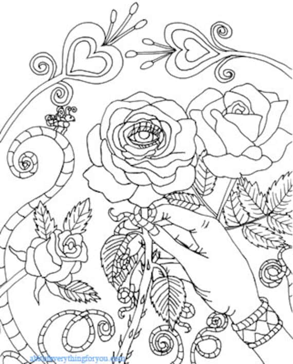 Evil Eye rose magic garden coloring page printable art download digital adult coloring book pages fantasy gothic image graphics