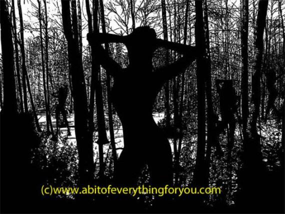 Forest Of Dancing Nymphs printable art print original silhouette art digital download graphics images fantasy dark artwork