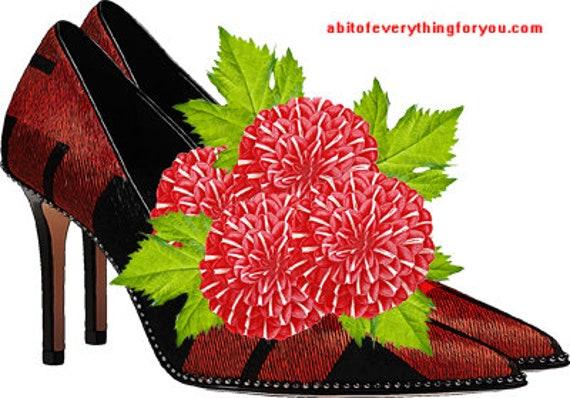 red and black plaid high heel shoes flowers printable art print clipart png download digital image graphics original fashion artwork
