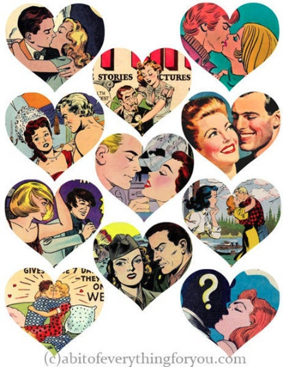 lovers romance comics hearts die cuts clipart digital instant download craft printables cut outs collage sheet lovers images scrapbooking