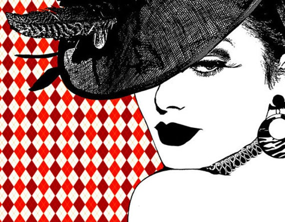 Harlequin Hat Lady print original art derby hat fashion art makeup beauty modern pop red black and white, womans face 80s style