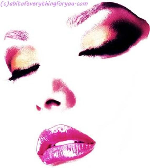 pink Lipstick Makeup womans face cosmetics Original printable wall art downloadable portrait digital download image graphics beauty prints