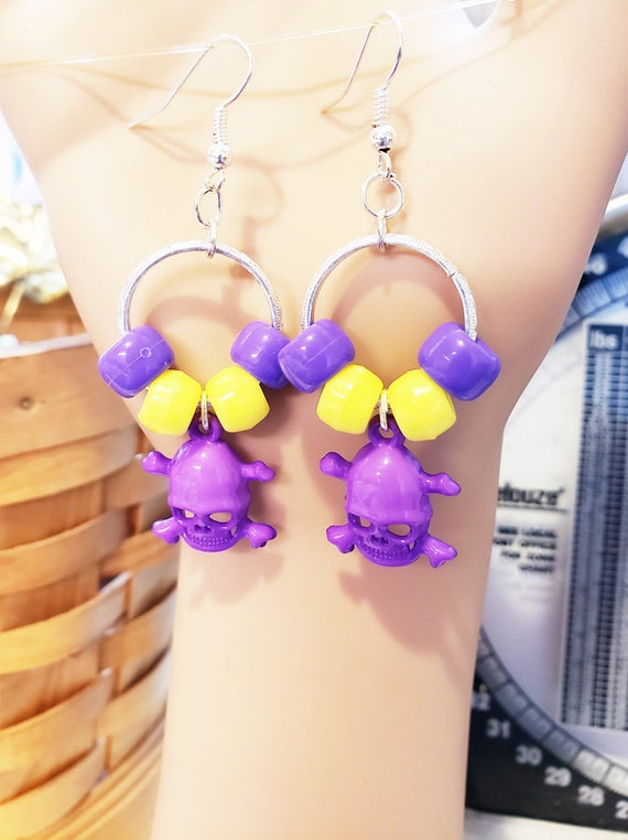 day of the dead hoop earrings purple skull dangles goth bead handmade jewelry pirate punk jewellery