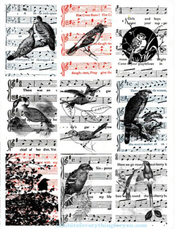 "vintage ephemera song birds sheet music collage sheet 2.5"" x 3.5"" inch clipart aceo images digital download craft cards tags printables"