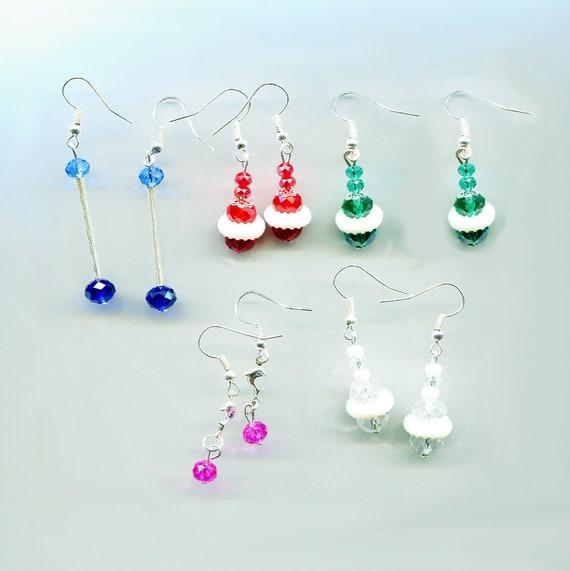 5 pairs bead drop dangle earrings lot mixed earrings lot wholesale bead jewelry lots glass plastic green red