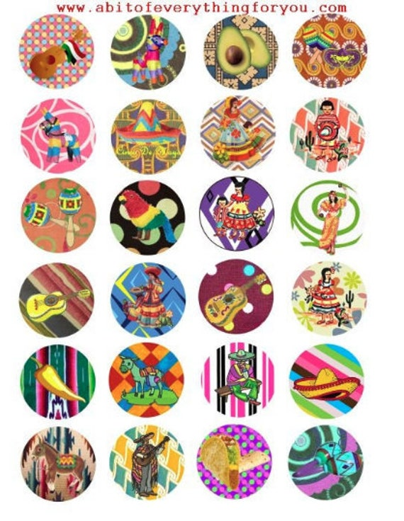 "senoritas burros mexican art clip art digital download collage sheet 1.5"" inch circle graphics images printables pendants pins"
