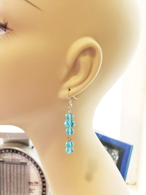 Blue glass bead drop dangle earrings handmade jewelry gifts for her