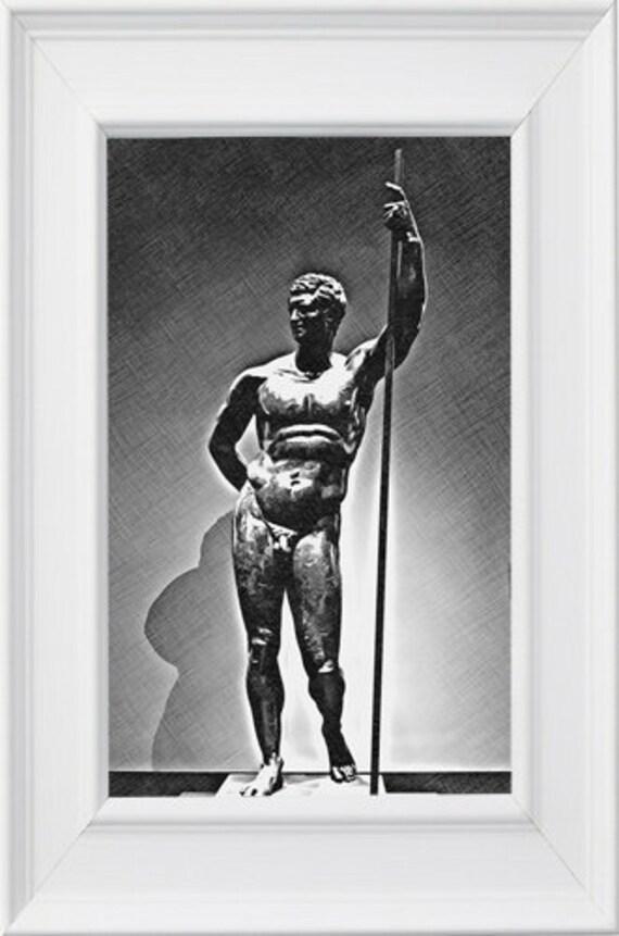 nude male statue printable art print jpg instant download digital image graphics nude male figure drawing instant downloadable artwork