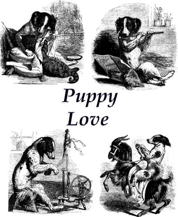 puppy love dogs pets printable animal art clipart png download digital vintage image graphics black and white artwork
