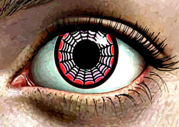 womans Eye Abstract spider web monster original art print horror sci fi gothic creepy artwork