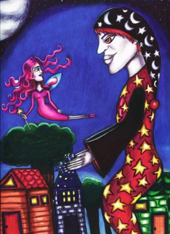 Sandman tooth Fairy print original art modern folk art contemporary fantasy fairytales drawings artwork prints