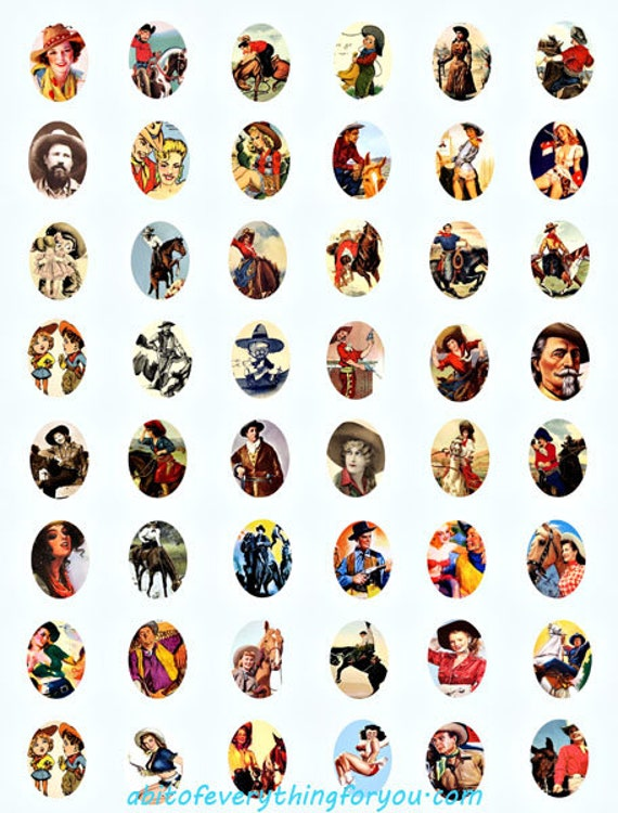 cowboys cowgirls clipart digital download collage sheet 18mm x 25mm ovals graphics vintage downloadable images pendant jewelry printables