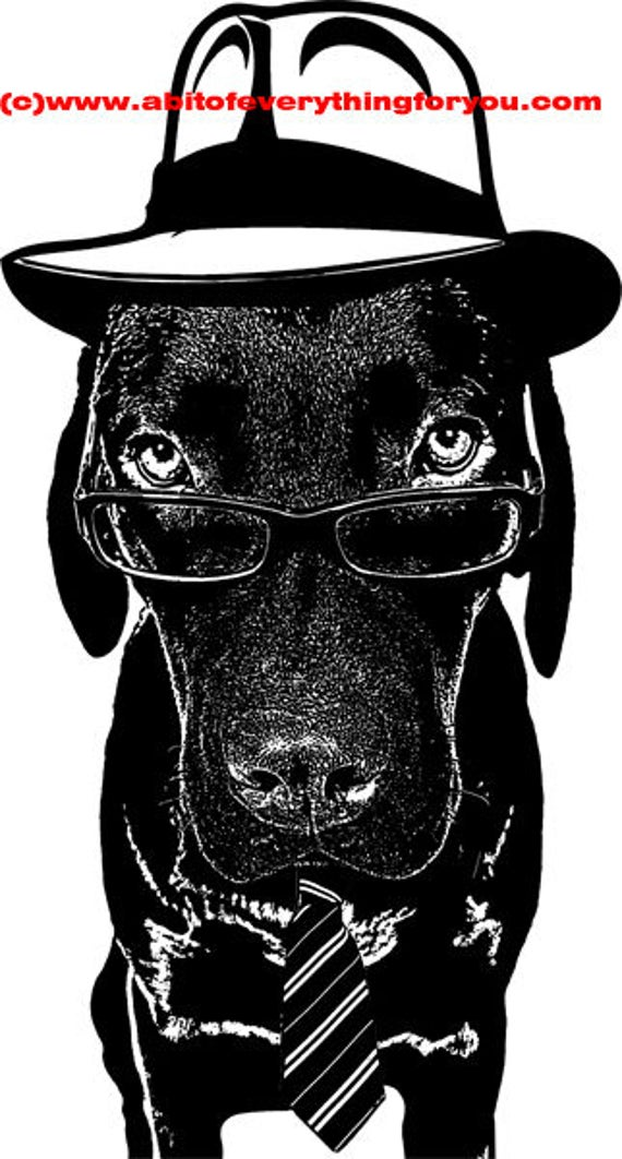 detective pi Dachshund dog printable animal wall art print clipart png download digital Dachshund image graphics pets black and white art