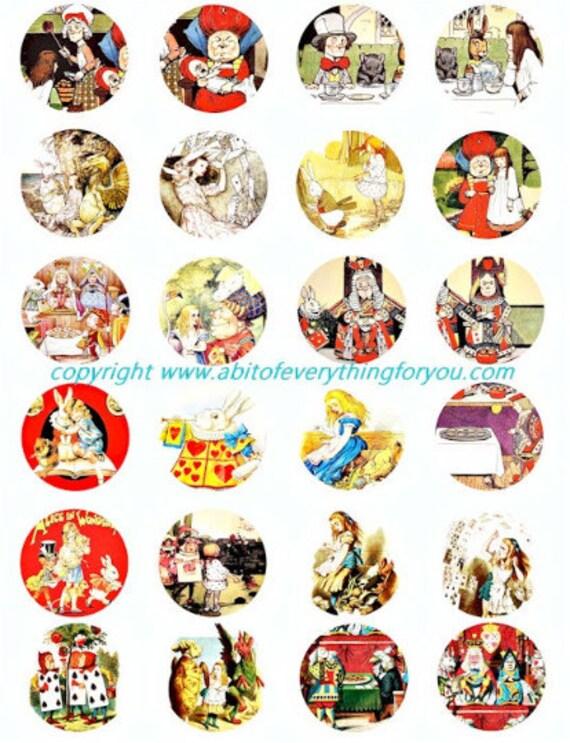 Vintage Alice in wonderland art clip art digital download collage sheet 1.5 inch circles graphics images printables for pendants pins magnet