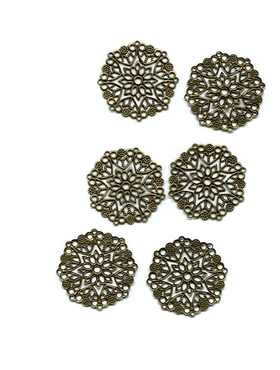 6 bronze tone metal filigrees flower charms pendants lot 35mm jewelry making