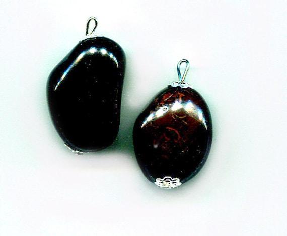 black agate stone bead drop pendants gemstone charms natural boho jewelry supply