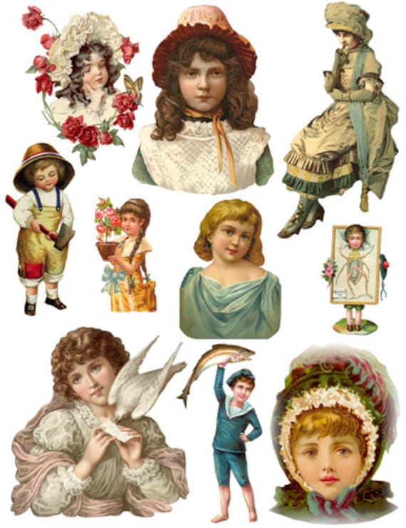 collage sheet victorian children girls boys digital download printable downloadable images graphics scrapbooking diy decoupage crafts