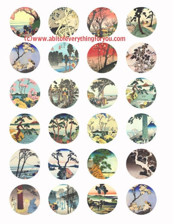vintage asian trees watercolor art clip art digital download collage sheet 1.5 inch circles graphics images craft printables