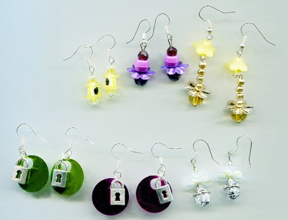 earrings wholesale lot 6 pairs bead drop flowers dangle charms sequins jewelry