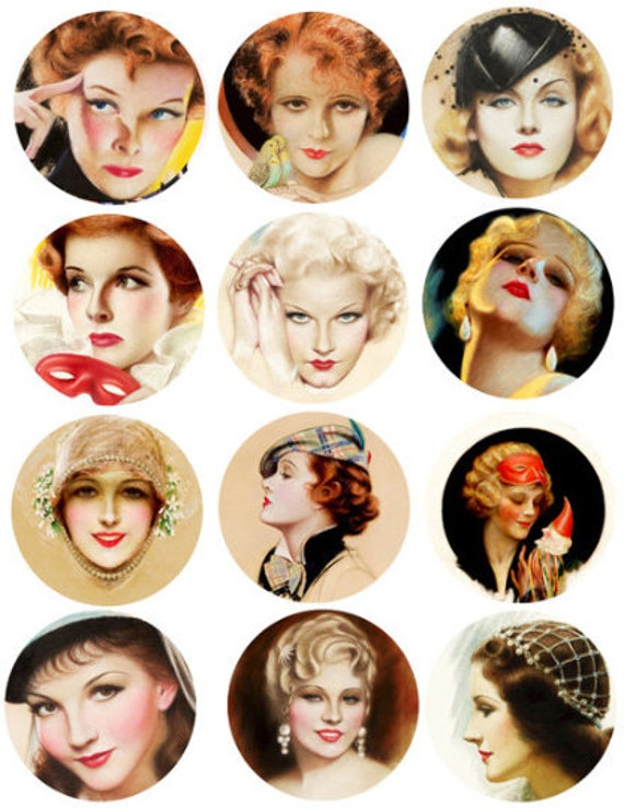 vintage women pinup girls faces collage sheet 2.6 inch circles clipart graphics images digital download diy craft printables scrapbooking