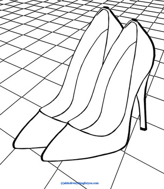 printable high heel shoes on dance floor art coloring page checkers art download digital image graphics fashion coloring poster to print out