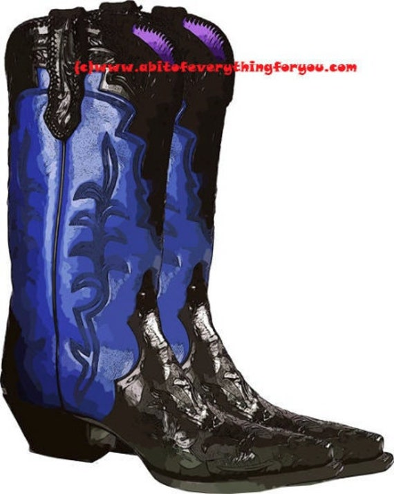 blue cowgirl cowboy boots printable art print clipart png download digital image graphics high heels country western art