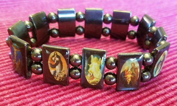 magnetic bead bracelet religious jesus mary stretch unisex black jewelry