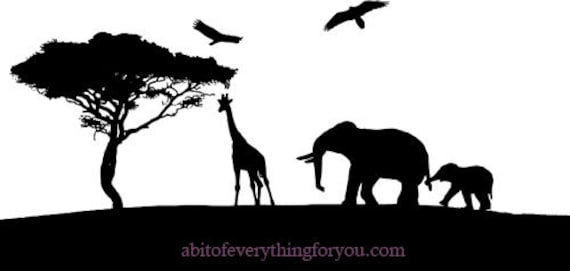 elephant giraffe jungle safari animals silhouette clipart png nursery art printable art prints Digital Download Image graphics downloadable