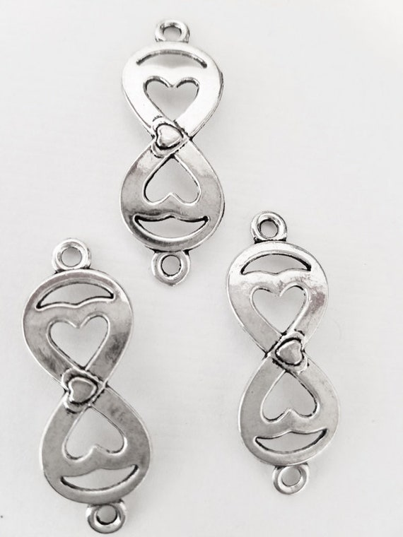infinity heart pendants bracelet connector charms metal silver 13mm x 35mm jewelry