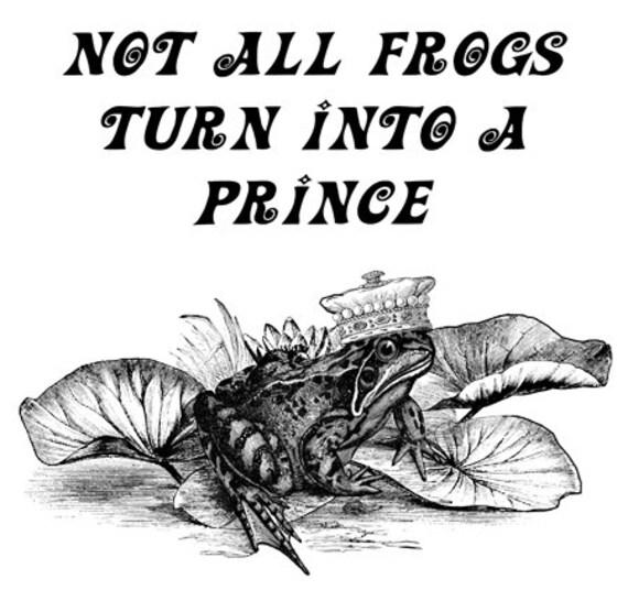 frog prince fairytale lie quote art print animal illustration nature wildlife art living room bedroom home decor black and white artwork