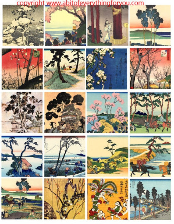 vintage watercolor paintings trees landscapes nature art clip art digital download collage sheet 2 inch squares graphics images printables