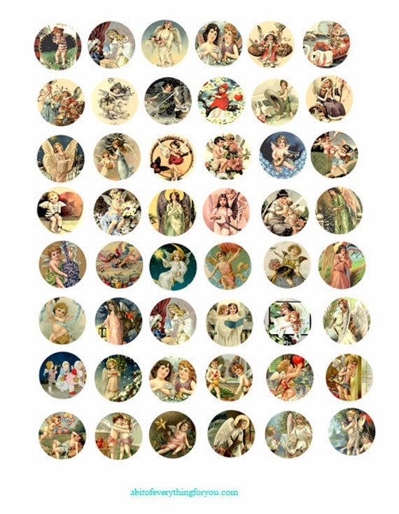 cherubs angels vintage art clip art digital download collage sheet 1 inch circles graphics postcards paintings images printables pendants