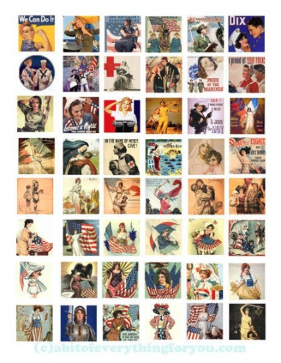 "vintage military americans patriotic women war art posters clipart digital download collage sheet 1"" inch squares images printable"