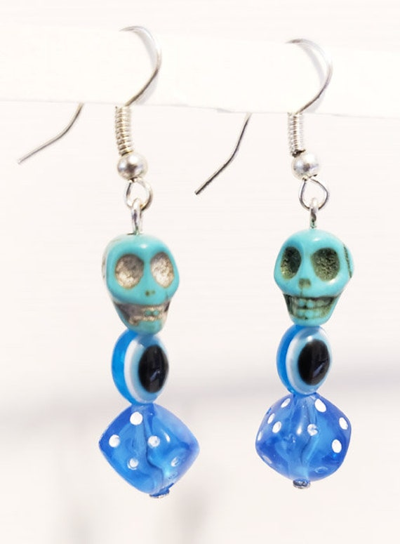blue sugar skull evil eye dice earrings skull bead earrings dangles day of the dead jewelry