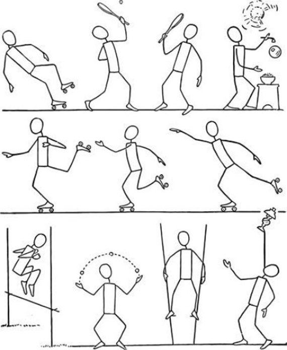 stick people body action poses printable art clipart png instant download digital image drawings