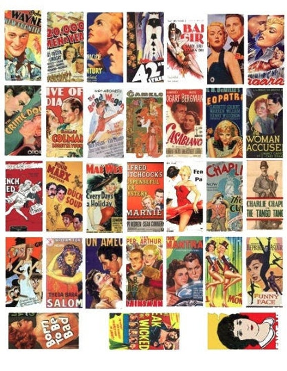 """printable vintage movie posters domino collage sheet 1"""" X 2"""" inch graphics vintage images digital download pendants diy jewelry crafts"""
