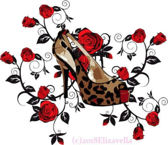 womans leopard high heels shoes red roses printable art clipart png jpg downloadable digital download image fashion graphics art prints