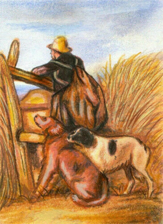 drifter man & dogs original aceo art pencil drawing farm animal art pets miniature small artwork trading cards