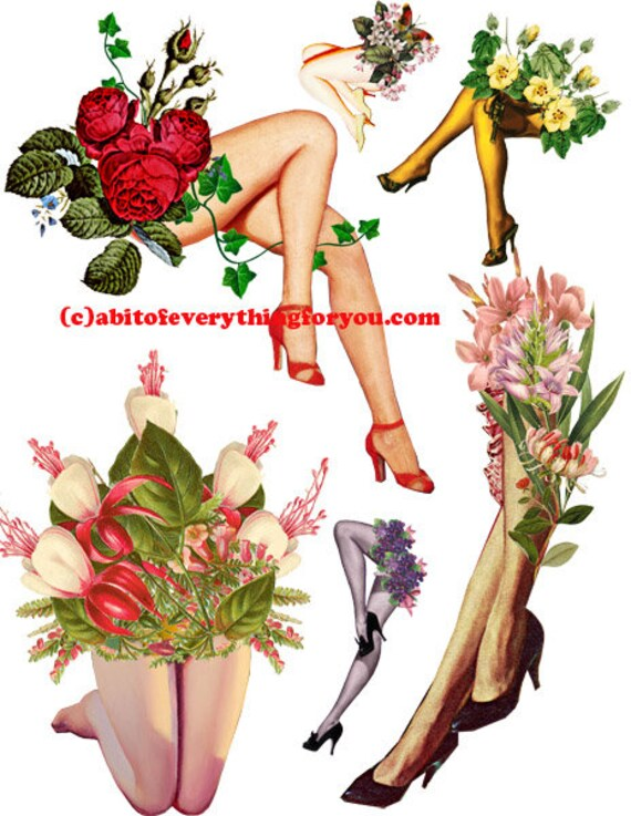 pinup girls legs with fowers die cuts clipart digital download craft printables cut outs collage graphics images DIY decoupage scrapbook