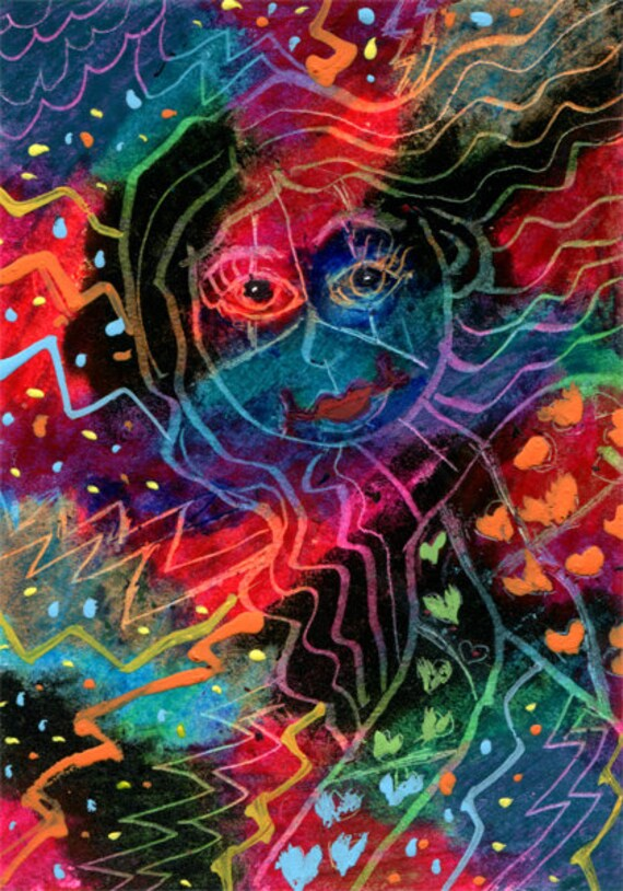 electric energy Lady abstract aceo original scratch art ink drawing miniature colorful artwork by Elizavella