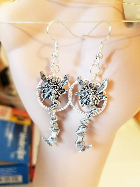 fairy mermaid hoop charm earrings dangles long metal handmade fantasy fairytale jewelry