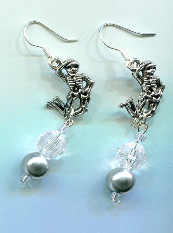 dancing skeleton halloween earrings pearl bead earrings day of the dead skull skeleton jewelry bead drop goth biker